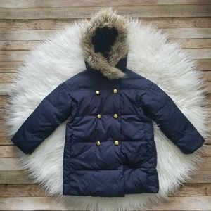 Crewcuts Navy Down Puffer Fur Trim Hood Coat